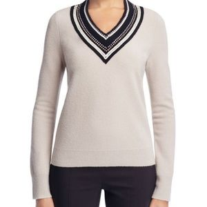 Tory Burch Petale Embellished Sweater Morning Fog